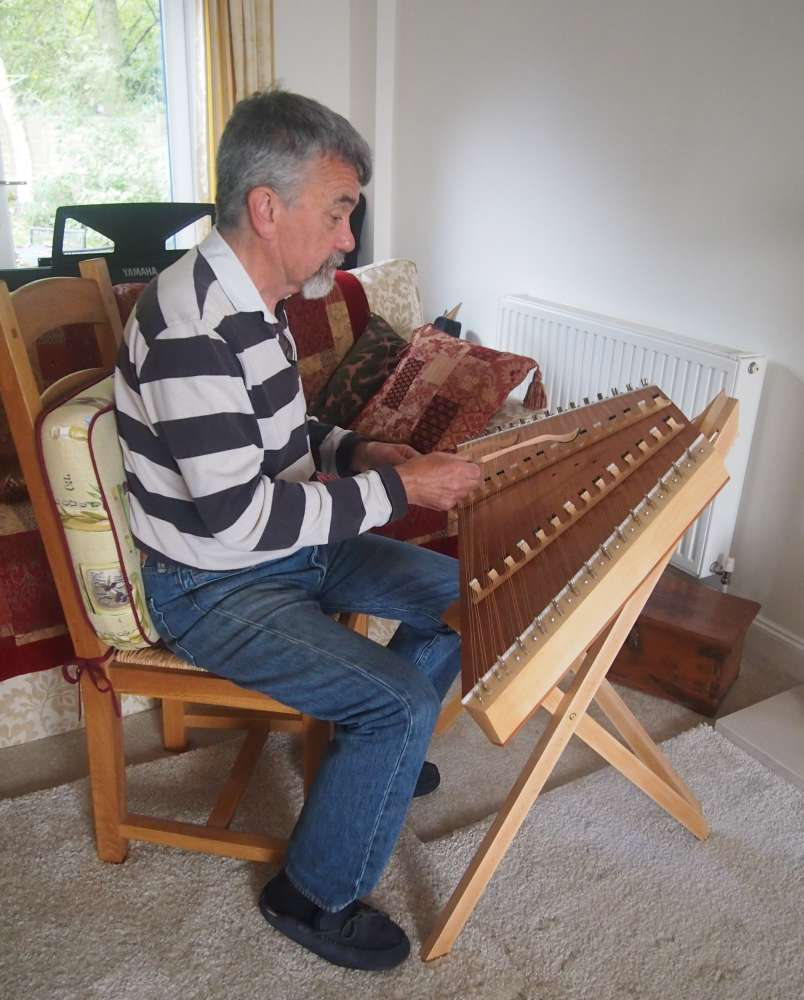 Seated Hammered Dulcimer stand by Dulcimer Heaven